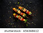 vegetarian skewers with... | Shutterstock . vector #656368612