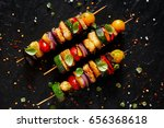 grilled vegetarian skewers with ... | Shutterstock . vector #656368618