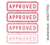 approved stamp. red rectangular ... | Shutterstock . vector #656377552