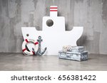 wooden boat on a gray... | Shutterstock . vector #656381422