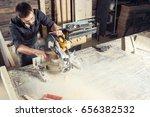 a young male carpenter builder...   Shutterstock . vector #656382532