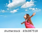 little girl outstretched arms...   Shutterstock . vector #656387518