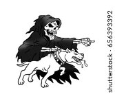 grim reaper with a pit bull | Shutterstock . vector #656393392
