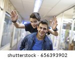 friends having fun in the city  ... | Shutterstock . vector #656393902