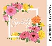 decorative vintage gerbera with ... | Shutterstock .eps vector #656399062
