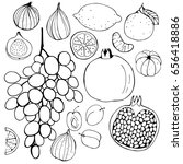 hand drawn fruits.  figs ... | Shutterstock .eps vector #656418886