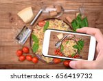 hands taking photo traditional... | Shutterstock . vector #656419732