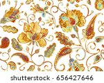 Stock photo hand drawn grunge watercolor floral flower seamless pattern tile for textile design colorful 656427646