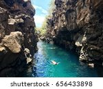 people swimming in a scenic... | Shutterstock . vector #656433898