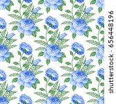 seamless pattern with roses and ... | Shutterstock . vector #656448196