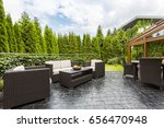 large terrace patio with rattan ... | Shutterstock . vector #656470948