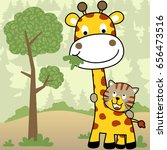 life in the jungle with giraffe ... | Shutterstock .eps vector #656473516