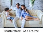 caucasian family with one child ...   Shutterstock . vector #656476792
