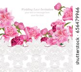peony flowers and delicate lace ... | Shutterstock .eps vector #656479966