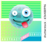 abstract cute happy emoji with... | Shutterstock .eps vector #656488996