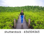 asian girl enjoying with nature ... | Shutterstock . vector #656504365