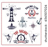 set of vintage retro nautical... | Shutterstock .eps vector #656507026