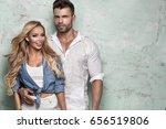 beautiful caucasian couple... | Shutterstock . vector #656519806
