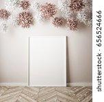 mock up poster in interior... | Shutterstock . vector #656524666
