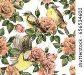 secret garden   pink roses...   Shutterstock . vector #656534602
