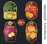 golden labels for organic fruit ... | Shutterstock .eps vector #656552482