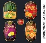 golden labels for organic fruit ... | Shutterstock .eps vector #656552482