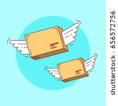 flying parcels with wings.... | Shutterstock .eps vector #656572756
