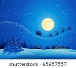 santa into the winter christmas ... | Shutterstock .eps vector #65657557