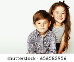 Little Cute Boy Girl Hugging - Fine Art prints