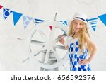 gorgeous summer girl wearing... | Shutterstock . vector #656592376