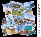 world landmarks collage   photo ... | Shutterstock . vector #656604598