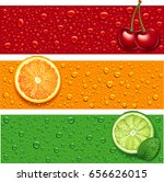 cherry  orange  lime and mint...   Shutterstock .eps vector #656626015