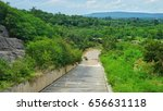 water in the dam flows from... | Shutterstock . vector #656631118