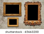 old frames on the wall in the interior grunge - stock photo