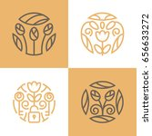 flowers logo set | Shutterstock .eps vector #656633272