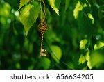 vintage key on  branch of birch ... | Shutterstock . vector #656634205