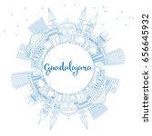 outline guadalajara skyline...   Shutterstock .eps vector #656645932