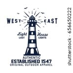 vintage lighthouse typography.... | Shutterstock .eps vector #656650222