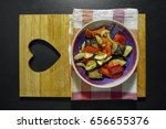 grilled vegetables in a bowl on ... | Shutterstock . vector #656655376
