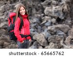 Smiling Young Woman Hiker...