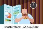 the fat man eats a hamburger in ... | Shutterstock .eps vector #656660002