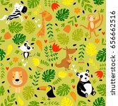 tropical pattern with animals.... | Shutterstock .eps vector #656662516