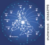 uk map with node link by line... | Shutterstock .eps vector #656663998