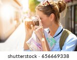 portrait of tourist taking... | Shutterstock . vector #656669338
