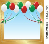 raster version Illustration of 10 Christmas balloons with candy canes background and a place for text or imagery. - stock photo