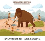 mammoth hunting background with ... | Shutterstock .eps vector #656680048