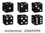 dice black set in 3d view ... | Shutterstock .eps vector #656693596