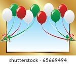 Vector Illustration of 10 Christmas balloons with candy canes background and a place for text or imagery. - stock vector
