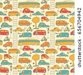 seamless transport pattern with ... | Shutterstock .eps vector #656704942
