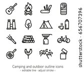 camping and outdoor outline... | Shutterstock .eps vector #656707396